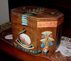 OLD WOODEN BOX  Decoupaged in Ancient Egyptian theme.. Go to www.etsy.com/AURANABAZAAR to see more photos and price..