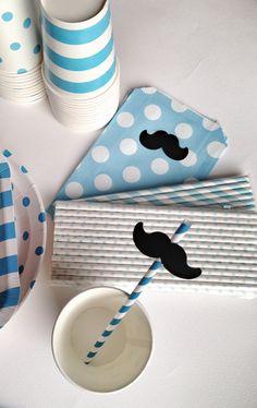 Baby blue moustache party details Little Man Party, Little Man Birthday, 1st Boy Birthday, Moustache Party, 9th Birthday Parties, Moustaches, Baby Party, Treasure Chest, Baby Boy Shower
