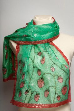 hand painted silk scarf found at LigaKandele on Etsy.
