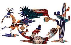 Kokopelli Tapestry of the Southwest Laser Cut Metal Wall Art Southwestern Quilts, Southwestern Decorating, Southwest Art, Metal Yard Art, Metal Art, Indian Symbols, Native American Symbols, Native Design, Rustic Cabin Decor