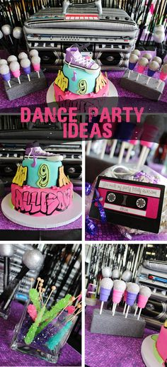 "Most up-to-date Cost-Free Dance Party Ideas- Allison's Hip-Hop Party Concepts A fresh world magazine From the world for the scene"", could be the Motto of the newest downtown 80s Birthday Parties, Dance Party Birthday, 90s Party, Disco Party, 11th Birthday, Cake Birthday, Party Party, House Party, Birthday Party Table Decorations"