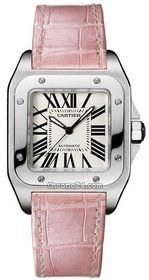 Cartier SANTOS 100 MM - MIDSIZE STAINLESS STEEL w/ PINK CROCO STRAP $4,950 #Cartier #watches 33mm 100m waterproof