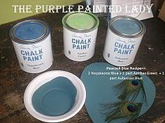 Peacock Blue Recipe for Chalk Paint®:  2 Napoleonic Blue + 1 part Antibes Green  + 1 part Aubusson Blue.  Enjoy this color with another custom color like Coral!  Or with Barcelona Orange Chalk Paint®! Too pretty and fun!