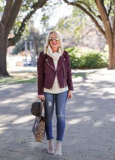Sugarplum Style, Vol. Burgundy Leather Jacket, Leather Jacket Outfits, Suede Moto Jacket, Leather Jackets, Fall Fashion Trends, 50 Fashion, Mature Fashion, Fall Trends, Fashion Weeks