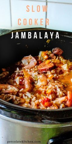 Love this easy jambalaya you just throw in the crockpot and let it do its thing! This recipe includes a shelf-stable rice that's added in towards the end, but she has instructions for using regular long grain rice, too.