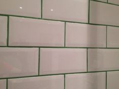 White tiles with a green or navy grout? Subway Tile Colors, Green Subway Tile, White Subway Tile Backsplash, Tile Grout, Color Tile, Grouting, Tiling, Black Grout, Grey Grout