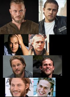 Travis Fimmel (Vikings) x Charlie Hunnam (Sons of Anarchy) it is crazy how much they look a like.