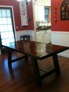 Farmhouse Table with barn board top -- I love this table, but I'm not sure I need it that big.
