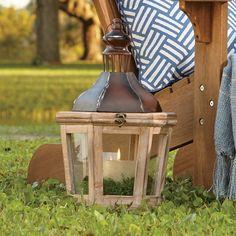 Pamona Lanterns | Weathered wood frames, glass paneling, and distressed metal lids give this set of lanterns a rustic, vintage-inspired charm. Place a candle in each to cast a romantic glow over your decor. Set of two.