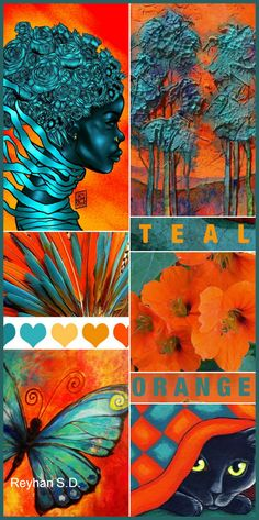 New Living Room Decor Colors Teal Orange 15 Ideas Living Room Decor Colors, Room Paint Colors, Teal Orange, Living Room Orange, Room Color Schemes, Orange Color Schemes, Color Collage, Mood Colors, Deco Boheme