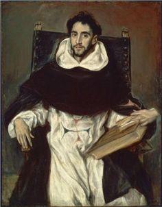 """Portrait of Fray Hortensio Felix Paravicino - El Greco.  1609.  Oil on canvas.  44 1/2 x 33 3/4"""".  Museum of Fine Arts, Boston, MA, USA."""