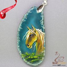 ATTRACTIVE HAND PAINTED HORSE GEMSTONE AGATE DIY NECKLACE PENDANT  ZL8010410 #ZL #Pendant