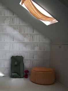 White Bookshelf Wallpaper by Young & Battaglia: @Elizabeth Silbermann #Wallpaper #Books #Young_&_Battaglia