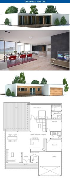 Contemporary Home Plan with three bedrooms, big windows and abundance of natural light. Floor area: 1851 sq ft