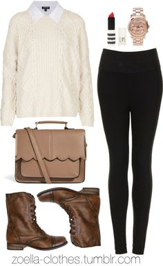 Untitled #449 by zoella-clothes featuring chronograph watchesTopshop white sweater / Topshop white shirt / Topshop highwaist pants / Steve Madden lace up boots / ASOS  satchel / Michael Kors chronograph watch, $355 / Topshop lip stick