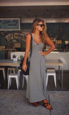 Vestido Longo Listrado