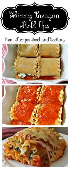 Skinny Lasagna Roll Ups - are made using whole grain lasagna noodles with a low fat spinach filling and marinara sauce. Recipes, Food and Cooking