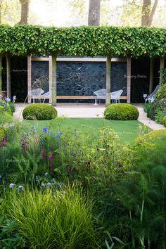 Chelsea Flower Show 2014 Buxus Sempervirens, Laurus Nobilis, Stipa, Sloped Garden, Gladiolus, Chelsea Flower Show, Gardening, Metal Chairs, Landscape Design