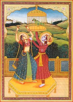 Radha Krishna in a Playful Mood (Reprint on Paper - Unframed))