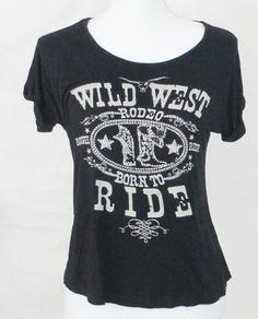Womens T Shirt L Black Thin Knit Western Rodeo Bling Embellished Cap Sleeve USA  #lovelysouls #EmbellishedTee