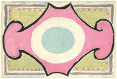 Original design for a carpet for Lytton Strachey's play 'The Son of Heaven' by Vanessa Bell.  c. 1924
