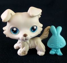 Littlest Pet Shop 363 Grey Collie Dog LPS Toy HASBRO 2007 Blue eyes Teddy Bunny
