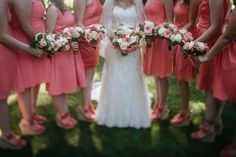 beautiful colors coral, peach bridesmaids dresses, shoes / sandals / wedges and white, light pink flowers in bride's flower bouquet bridal party portrait by Matt Shumate Photography at the Evergreen Gardens in Ferndale WA Peach Bridesmaid Dresses, Bridesmaids, Wedding Dresses, Evergreen Garden, Light Pink Flowers, Garden Weddings, Wedding Shoot, White Light, Wedding Portraits