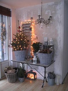 Christmas tree in a basket