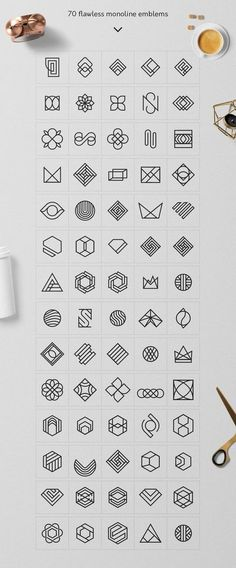 Geometric Logo Pack - A superb and professional collection of 235 Minimal Logo Templates and 320 Geometric Logo Marks created for beginner and expert Designers. It allows you to design a brand new logo in 3 minute using Photoshop or Illustrator. By Davide