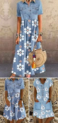 Over 60 Fashion, 50 Fashion, Denim Fashion, Modest Fashion, Fashion Outfits, Demin Dress Outfit, Color Combinations For Clothes, Women's A Line Dresses, Summer Outfits Women