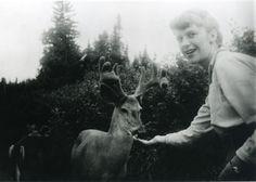 Sylvia Plath feeding deer in Ontario, Canada, 1959