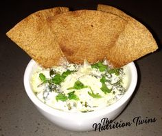 Creamy Spinach Artichoke Dip Re-Invented   HUGE SERVING Only 129 Calories   16 Grams Protein!   For MORE RECIPES please SIGN UP for our FREE NEWSLETTER www.NutritionTwins.com
