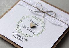 Zaproszenie na ślub w stylu rustykalnym - na eko papierze z koronką i drewnianym serduszkiem Flower Box Gift, Flower Boxes, Flowers, Wedding Planning, Scrapbooking, How To Plan, Handmade, Gifts, Invitations