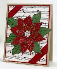 handmade Christmas card from The Stampin' Schach ... poinsettia embossed in gold on green and red ... luv the black and white look of the sheet music background ... Stampin' Up!