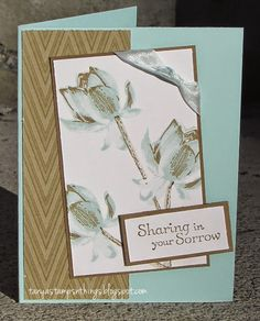 Stamps: Lotus Blossom, Thoughts and Prayers. Ink: Soft Suede, Soft Sky. Paper: Pool Party & Whisper White card stocks, Park Lane DP. Accessories: Soft Sky seam binding, Dimensionals.