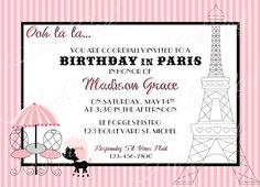 French Open Tennis Themed Paris Birthday Party Karas Party - Invitation in french to birthday party