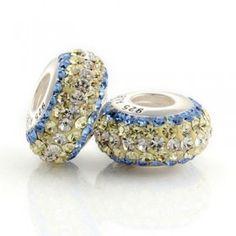 Silver White Yellow Blue Scroll Bar Crystal Bead