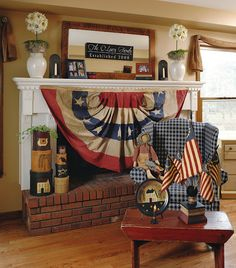 True Americana via Country Sampler Magazine Fourth Of July Decor, 4th Of July Decorations, July 4th, Americana Decorations, Memorial Day Decorations, Plywood Furniture, Eames, Country Sampler Magazine, Independance Day