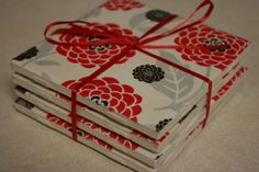 Red and Black Mums coaster set by SimplyMadeByJenny on Etsy, $7.50