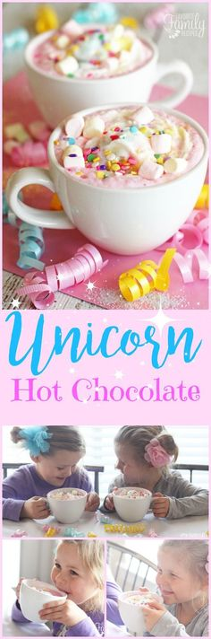 This unicorn hot chocolate recipe is all your childhood dreams in hot chocolate form. It is so fun, you cant help but smile when drinking it! Perfect for PARTIES! This unicorn hot chocolate re Party Unicorn, Unicorn Birthday Parties, Birthday Ideas, Birthday Cake, 8th Birthday, Kinder Party Snacks, Lunch Snacks, Yummy Treats, Sweet Treats