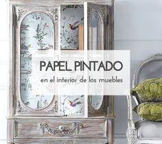 Decora el interior de tus muebles con papel pintado. #diy #deco #decoración