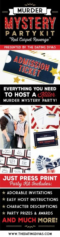 Murder Mystery Party Pack  -  This party has all the makings for a perfect group date: Mystery, Murder and FOOD