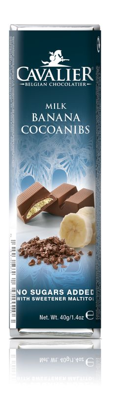 Bar with sweetener Maltitol, milk chocolate with a banana and cocoanibs filling. Cavalier the pioneer in no sugars added chocolate.