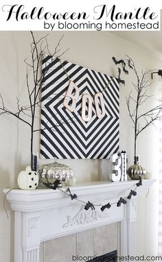 Black and White Halloween Mantle #halloween #diy #blackandwhite