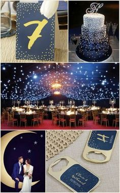 Under The Stars Navy Blue & Gold Wedding Ideas from HotRef Galaxy Wedding, Star Wedding, Wedding Table, Dream Wedding, Wedding Ideas, Trendy Wedding, Wedding Reception, Unique Wedding Themes, Gift Wedding