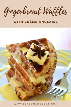 These fluffy gingerbread waffles are made even better with a rich vanilla cream sauce! Vanilla Cream, Gingerbread, Waffles, French Toast, Breakfast, Food, Morning Coffee, Ginger Beard, Eten