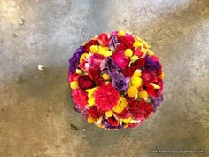 Brightly Colored Bridal Bouquet with Billy Buttons and Ranunculus