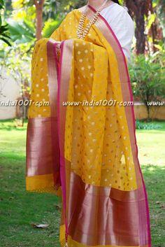 Gorgeous Woven Banarasi Silk Dupatta - SM | India1001.com