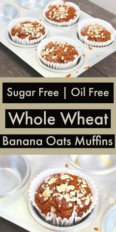 free and Oil free Whole Wheat Banana Oats Muffins - These blender banana m. -Sugar free and Oil free Whole Wheat Banana Oats Muffins - These blender banana m. Eggless Banana Muffins, Oat Muffins Healthy, Healthy Cookies, Healthy Cake Recipes, Healthy Baking, Cupcake Recipes, Easy Recipes, Healthy Food, Banana Recipes