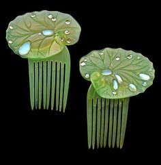 Lily pad hair combs in green tinted horn with moonstones, ca. 1906